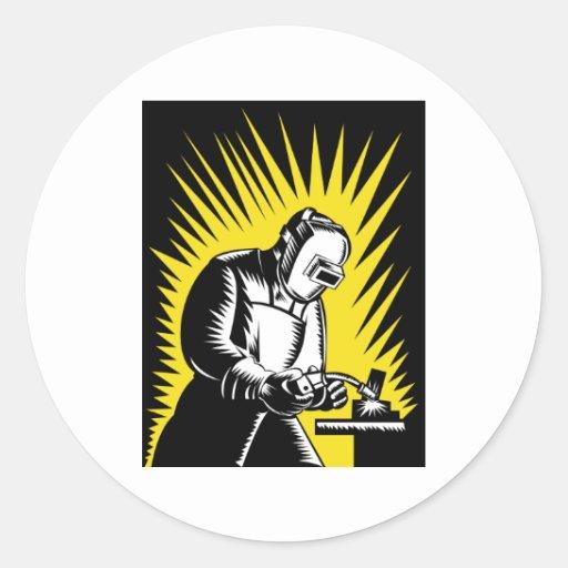 welder worker welding round stickers