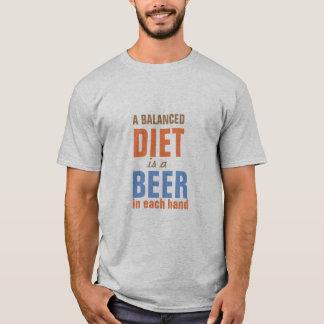 well balanced diet is beer in each hand funny tee