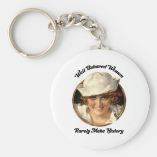 Well Behaved Women Rarely Make History Key Fob Basic Round Button Key Ring