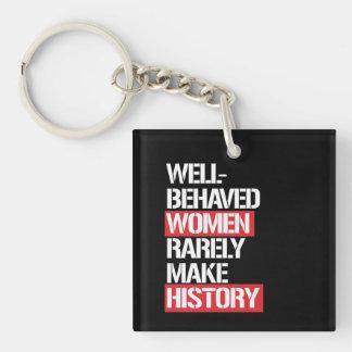 Well-Behaved Women Rarely Make History --  white - Key Ring