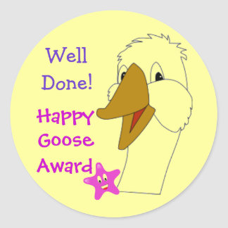 WELL DONE Happy Goose Kids Home or School Award Round Stickers