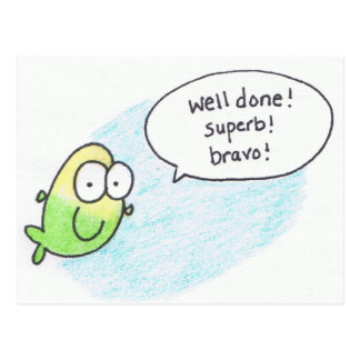 Well Done, Super, Bravo, Fish Post Card