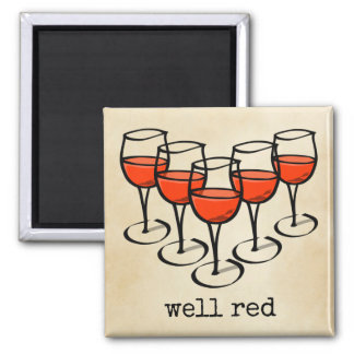 Well Red Wine Glasses Magnet