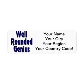 Well Rounded Genuis Blue Return Address Label