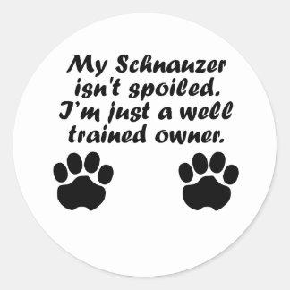 Well Trained Schnauzer Owner Classic Round Sticker