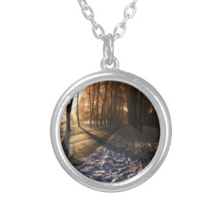 Well Traveled Snow Covered Path Silver Plated Necklace