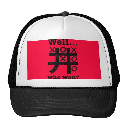Well...who won? in black distressed mesh hats