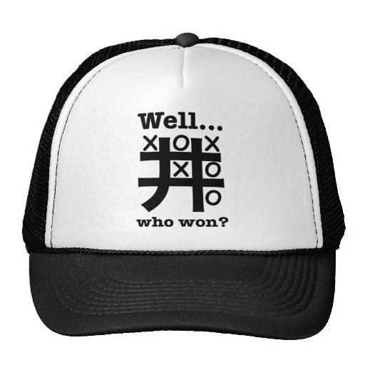 Well...who won? in black trucker hats