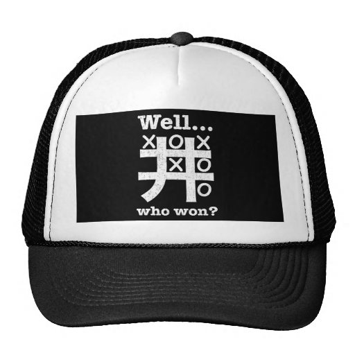 Well...who won? in white distressed mesh hat