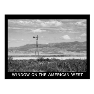 Well Windmill Low Desert Black and White Postcard