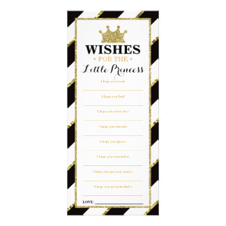 Well Wishes Card, Baby Shower, Princess, Faux Gold Personalised Rack Card