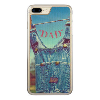 """""""WELL-WORN BIBS DRYING ON CLOTHESLINE""""/""""DAD"""" CARVED iPhone 8 PLUS/7 PLUS CASE"""