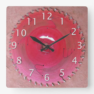 Well Worn Red Circular Saw Blade Photograph Square Wall Clock