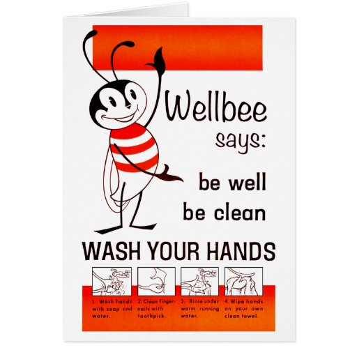 Wellbee CDC WASH YOUR HANDS Advertisement Poster Greeting Cards