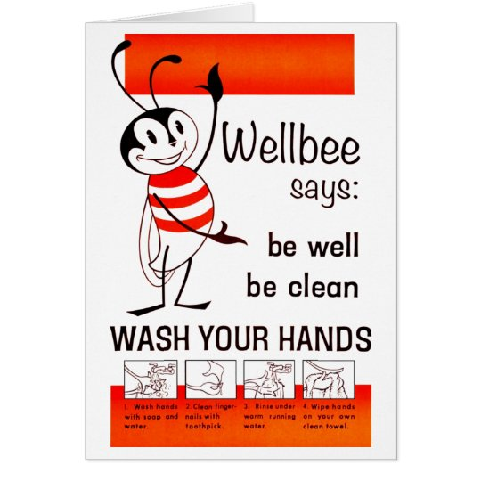 Wellbee CDC WASH YOUR HANDS Advertisement Poster Card