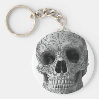 Wellcoda 3D Skull Horror Face Aztec Head Basic Round Button Key Ring