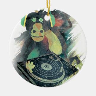 Wellcoda Animal Monkey Music DJ Disco Pop Round Ceramic Decoration