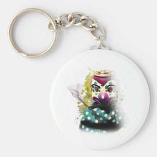 Wellcoda Crazy Evil Clown Toy Horror Face Basic Round Button Key Ring