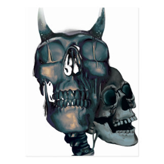Wellcoda Devil Skull Head Evil Skeleton Postcard