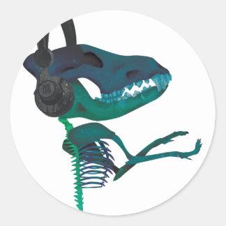 Wellcoda Dinosaur Headphone Music Lover Round Sticker