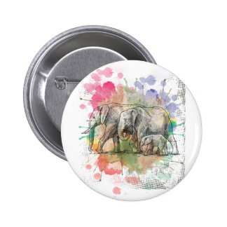 Wellcoda Elephant Family Walk Zoo Animal 6 Cm Round Badge