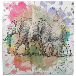 Wellcoda Elephant Family Walk Zoo Animal Printed Napkin