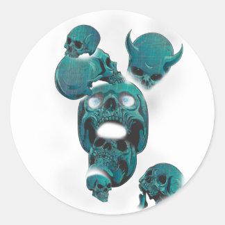 Wellcoda Evil Skull Horror Creepy Face Round Sticker