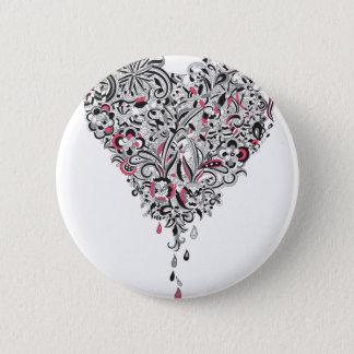 Wellcoda Flower Power Heart Petal Rose Fun 6 Cm Round Badge