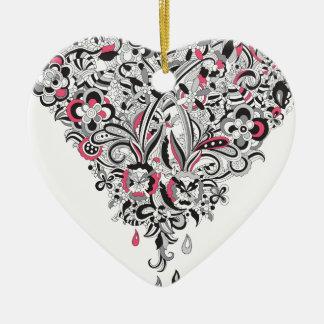Wellcoda Flower Power Heart Petal Rose Fun Ceramic Heart Decoration