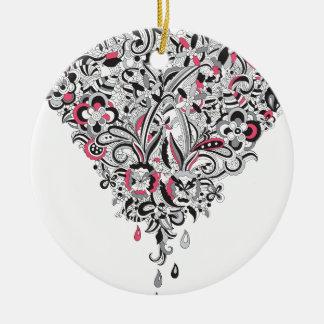 Wellcoda Flower Power Heart Petal Rose Fun Round Ceramic Decoration