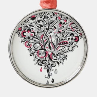 Wellcoda Flower Power Heart Petal Rose Fun Silver-Colored Round Decoration