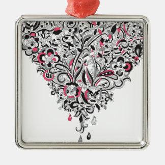 Wellcoda Flower Power Heart Petal Rose Fun Silver-Colored Square Decoration