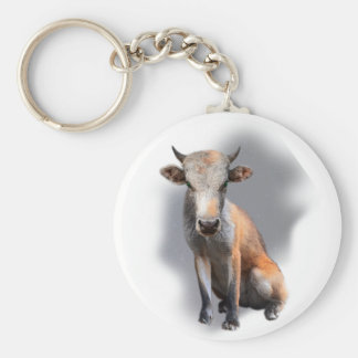 Wellcoda Fox Cow Freak Mutant Fake Animal Basic Round Button Key Ring