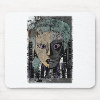 Wellcoda Girl Face Skeleton Half Head Mouse Pad