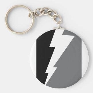 Wellcoda Lightning Shock Strike Grey Black Basic Round Button Key Ring