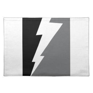 Wellcoda Lightning Shock Strike Grey Black Placemat