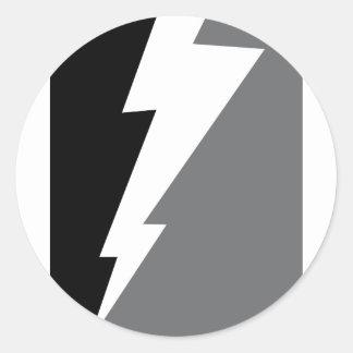 Wellcoda Lightning Shock Strike Grey Black Round Sticker