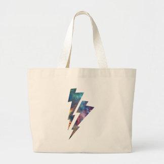 Wellcoda Lightning Strike Space Cosmos Large Tote Bag