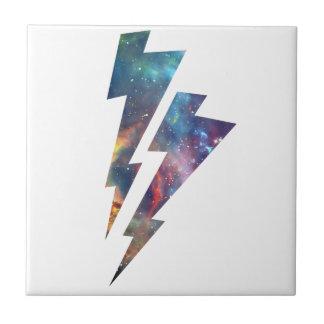Wellcoda Lightning Strike Space Cosmos Small Square Tile