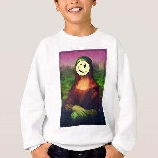 Wellcoda Mona Lisa Smile Face Funny Emoji Sweatshirt