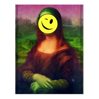 Wellcoda Mona Lisa Smile Wink Emoji Art Postcard