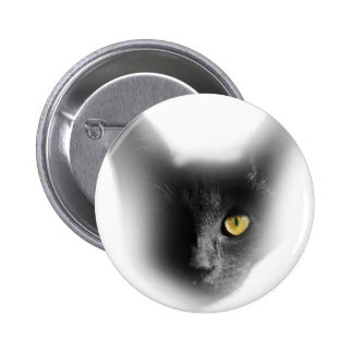 Wellcoda One Eyed Black Cat Freaky Kitten 6 Cm Round Badge