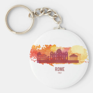 Wellcoda Rome Italy Capital City Sight Basic Round Button Key Ring