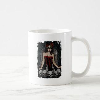 Wellcoda Scary Skull Sexy Girl Demon Evil Basic White Mug