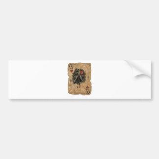 Wellcoda Skeleton Ace Hearts Ribcage Card Bumper Sticker
