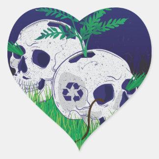 Wellcoda Skeleton Skull Earth Recycle Pot Heart Sticker