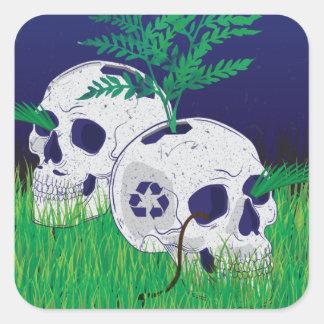 Wellcoda Skeleton Skull Earth Recycle Pot Square Sticker