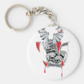 Wellcoda Skull Vampire Scary Evil Monster Basic Round Button Key Ring