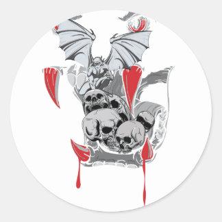 Wellcoda Skull Vampire Scary Evil Monster Round Sticker