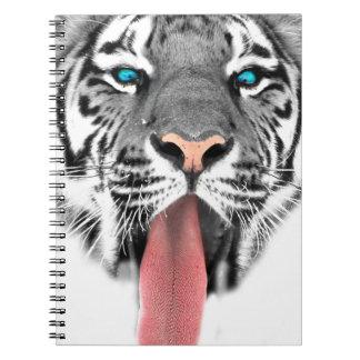 Wellcoda Tiger Tongue Lick Scary Animal Spiral Notebook